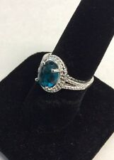 Sterling Silver Oval Cushion Cut Teal Blue Cubic Zirconia Filigree Ring Size 7