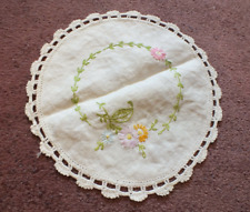 Embroidered Dresser Scarf White Crochet