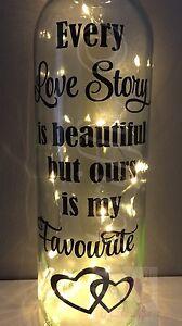 EVERY LOVE STORY IS BEAUTIFUL  WINE BOTTLE VINYL DECAL STICKER DIY WEDDING GIFT
