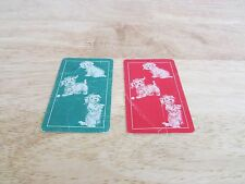 Lot of 2 Puppy Dogs Vintage Single Swap Playing Cards Dog Tricks Red Green Card