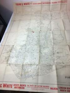 Portsmouth Very Large street map of Portsmouth 1930s ?? Antique Map