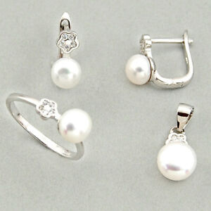 BIGGEST SALE 7.89cts Natural White Pearl Silver Pendant Ring Earrings Set C6422