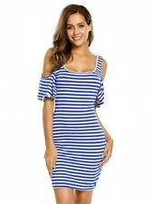 Carli- Beautiful Ladies Size 12 Blue White Stripe Off The Shoulder Stretch Dress