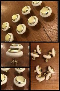 8 Knobs Ceramic Brass Center Rosette Cabinet Drawer White Mid Century Vintage
