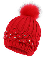 Women's Winter Hat Ladies Slouchy Pom Pom Knit Crochet Beanie Solid Skull Cap