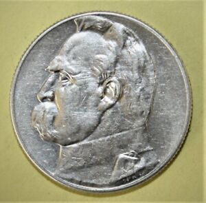 Poland 5 Zlotych 1934 Almost Uncirculated + Silver Coin - Josef Pilsudski