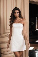 HOUSE OF CB 'Rowan' Ivory Satin Crystal Strapless Dress Size S 8-10