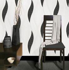 Luxury Wave Glitter Blown Vinyl Textured Metallic Good Quality Wallpaper Black