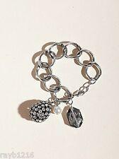 NWT Guess Silver Metal Large Links Rhinestone Teardrop Charm & Bead Bracelet