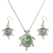 "Sea Turtle Fashionable Necklace & Earrings Set - Abalone Paua Shell - 17"" Chain"