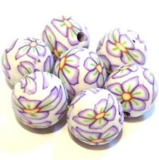 30 POLYMER FIMO CLAY Round Flower BEADS 10mm