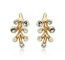 18k Gold Plated Tree Style Stud Earring Made With Swarovski Crystal XE1