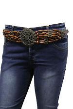 Women Brown Wood Ethnic Vintage Gold Moroccan Style Buckle Fashion Belt M L XL