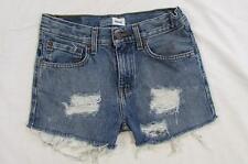 "Womens 27"" Zipper Fly Levi Cut Off Denim Shorts Jeans Distressed Boyfriend"