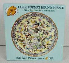 "Bits n Pieces 300 Pc Lg Format Circular Art PUZZLE 99 BUTTERFLIES 20"" Round VGUC"
