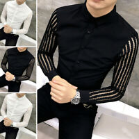 Fashion Men Long Sleeve Shirt Slim Fit Smart Collar Shirt  Party Clubwear Blouse
