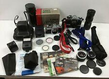 Canon AE-1 Program SLR Film Camera Bundle 2 Bodies Power Winder A Lenses ++++