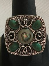 Carolyn Pollack Rare Vintage Sterling Green Turquoise Abalone Ring Size 9.25