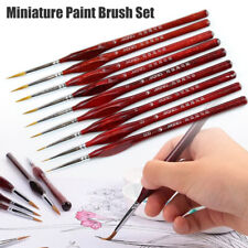 9Pcs Miniature Paint Brush Set Sable Hair Fine Detail Art Nail Model 000~6 Kit