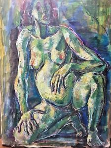 Vintage EMANUEL ROMANO Nude Painting hand signed unique Dramatic