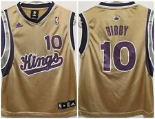 Adidas NBA Sacramento Kings #10 Bibby Gold Screened Boys Medium 10-12 Basketball