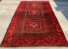 Authentic Hand Knotted Afghan Balouch Wool Area Rug 5.7 x 3.5 Ft (662 Hm)