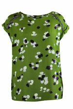 Womens Green Mix Print Beaded Embellished Trim Cap Sleeve Blouse Shell Top