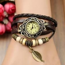 Retro New Quartz Weave Wrap Around Leather Leaf Bracelet Woman Wrist Watch new)