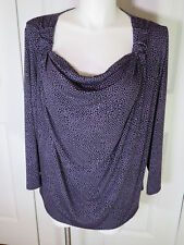 Avenue Sexy Stretchy L/Sleeve Draped Neck Pullover Tunic Top Sz 22/24 Bust 54""