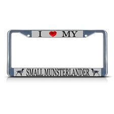 Love Small Munsterlander Dog Heavy Duty Metal License Plate Frame Tag Border