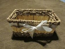 """rectangle Basket straw & reed with metal supports Ribbon accent 8-3/4"""" x 5-1/4"""""""