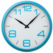 New Vintage Wall White Blue Round Clock Time Design Kitchen Home Child Bedroom