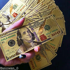 100Pcs/set 24K Gold Foil Dollar New $100 Banknotes Home Decor Collections Gifts