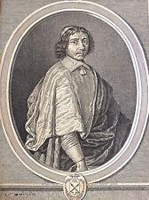 Eau-forte sur vergé, Cardinal de Retz, XVIIème, graveur Rousselet d'après Loyr