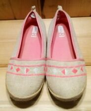 Girl's Slip on Flats size 4 Tan Tweed and Pink