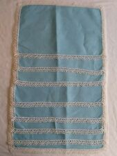 Vintage Robins Egg Blue Linen Tatted Cloth Placemats Set Lot