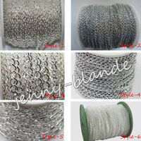 1/5m Silver Plated Cable Open Link Metal Chain Finding 1/3x2/3x4/6x4/8x7/10x5mm