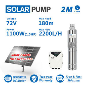 """3"""" DC Screw Solar Water Bore Pump 72V 1100W Submersible Well Garden Pond 180m"""