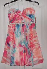 Love Reign Jrs Sz 3 Strapless Jeweled Waist Mini Floral Chiffon Party Dress NWT