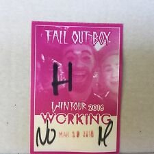 FALL OUT BOY WIN TOUR 2016 BACKSTAGE PASS LOCAL CREW NEW UNPEELED