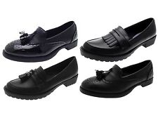Girls Womens Kids Brogues Mules Chunky Loafers Black School Work Shoes Size