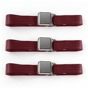 Early Cars 1928 1932 Airplane 2 Pt. Burgandy Lap Bench Seat Belt Kit 3 Belts