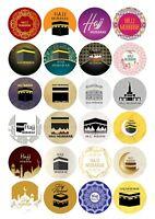 Hajj Umrah Mubarak Celebration Stickers Gift Bags Bottles Partys 12 OR 24 S-1