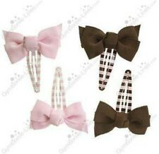 NWT Gymboree SWEETER THAN CHOCOLATE Pink Brown Bow Clip Barrettes 4 pk