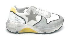 Ovye IP Elettra1 sneaker lacci pelle bianco-giallo lamiato argento W