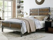 Queen Size Bed Frame Metal Headboard Platform Bedroom Furniture Industrial New
