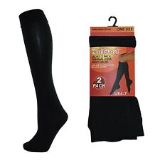 2 PACK Ladies Thermal Socks Womens Black Knee High Length Tights UK size 4-7