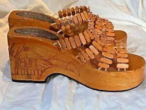 Carved wooden Asian platform Sandals 70's slides Philippines boho Tourist art 6