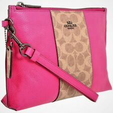New Coach Charlie Pouch Signature Canvas /Pebbled Leather #78372.  $175.00.
