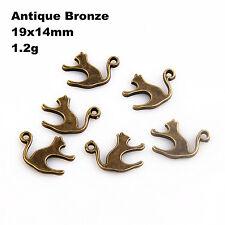 Lot 20/50/150Pcs ZInc Alloy Antique Silver flat Cat Charms Pendants19x14mm